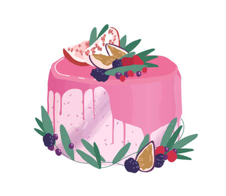 Wedding or birthday dessert decorated with berries, fruits and drippy topping. Festive layered creamy cake topped with pink mirror glaze. Colored vector illustration isolated on white background