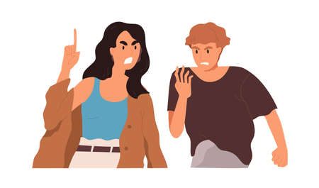 Couple of angry man and woman shouting, arguing and conflicting. Argument and fight between two aggressive people. Scene of family quarrel. Color flat vector illustration isolated on white background