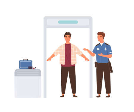 Passenger passing through metal X-ray scanner with his luggage on belt. Officer controlling travelers and baggage at airport security check point. Flat vector illustration isolated on white background Ilustração