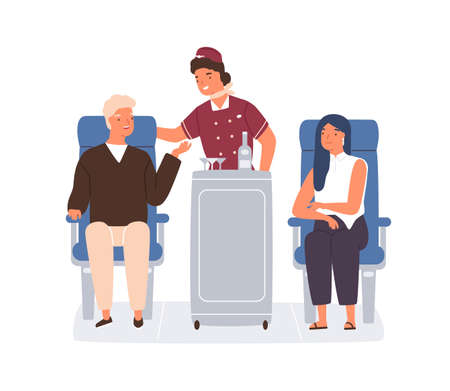 Friendly stewardess rolling trolley and serving passengers in plane. Man ordering drinks and food from flight attendant in aircraft. Colored flat vector illustration isolated on white background Ilustración de vector