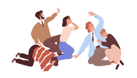 Scared and frightened people with expressions of shock and fear on their faces. Afraid and horrified men and woman screaming in panic. Colored flat vector illustration isolated on white background Vektorgrafik