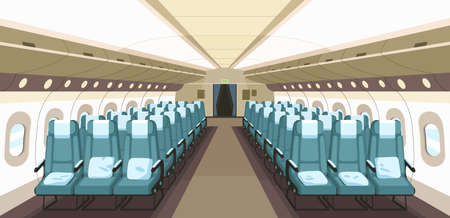 Front view of airplane interior design with aisle, reclining seats and portholes. Empty aircraft cabin of economy class. Inside modern plane. Colored flat vector illustration. Vetores