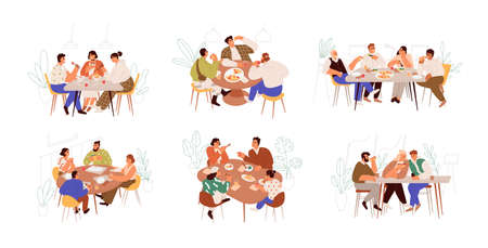 Set of families, friends and colleagues sitting at dining table and eating food together. People meeting at breakfast, lunch or dinner. Colorful flat vector illustration isolated on white background. Vecteurs