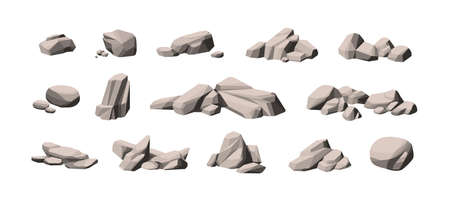 Set of large and small heavy polygonal stones. Collection of cobblestone piles. Compositions of natural solid rocks. Monochrome vector illustration of gray boulders isolated on white background.