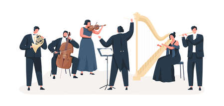 Symphony orchestra flat vector illustration. Professional musicians playing musical instruments on stage with conductor. Classical music concert. Violin, cello, clarinet, harp and french horn players