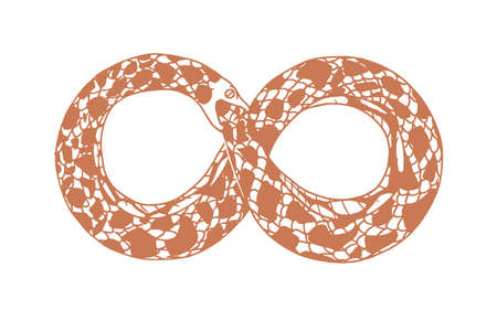 Ouroboros or uroboros as symbol of infinity, eternity and rebirth. Snake biting, devouring or eating its own tail. Monochrome flat vector illustration isolated on white background
