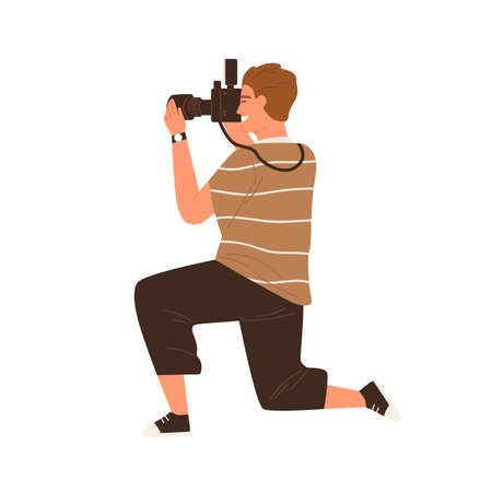 Side view of professional male photographer holding digital photo camera and taking photos. Modern man sitting down on a knee and making shots. Flat vector illustration isolated on white background
