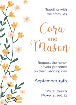 Design of wedding inviting card with tender flowers. Elegant template of vertical invitation card with yellow floral plants and place for text. Flat vector illustration isolated on white background.