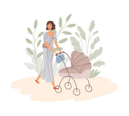 Happy young mom walking with baby in pram. Modern trendy woman pushing stroller with child. Mother with pushchair. Colored flat vector illustration isolated on white background Vecteurs