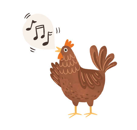 Funny brown chicken clucking and singing songs. Speech bubble with music notes as sounds of hen. Flat vector illustration isolated on white background
