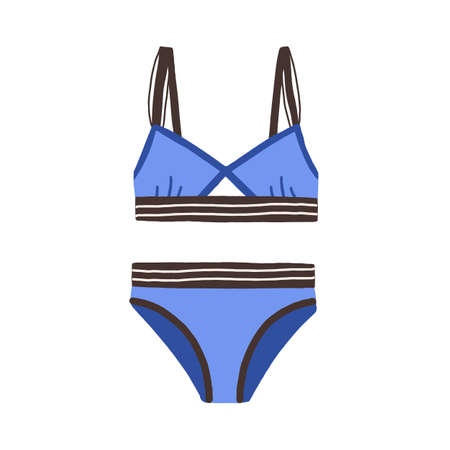 Female sports swimsuit. Blue strapped women swimwear with elastic wireless bra. Bikini top and bottom. Flat colorful vector illustration isolated on white background