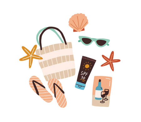 Beach bag or purse with sunglasses, flip-flops, tube of sun cream, sea shell and starfish. Top view of summer items. Colored flat vector illustration isolated on white background Vektorgrafik