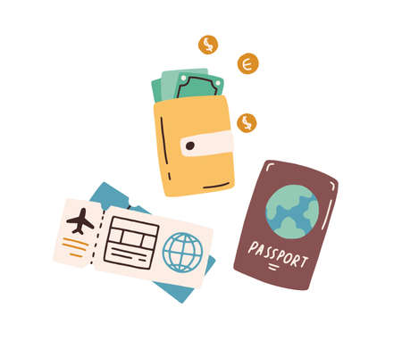 Tourist s items, passport, wallet with cash, boarding pass and flight ticket. Tourism and traveling by air plane concept. Colored flat vector illustration isolated on white background Ilustración de vector