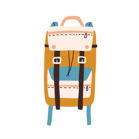 Modern colorful backpack with straps and pockets isolated on white background. Travel or hiking bag. Colored flat vector illustration