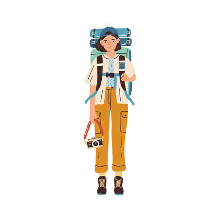 Young woman with backpack and camera ready for traveling. Female tourist or hiker in hiking clothes isolated on white background. Colored flat vector illustration