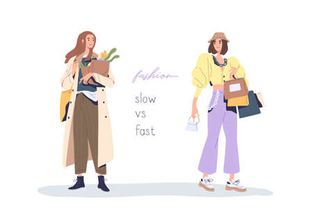 Slow vs fast fashion movement against overconsumption and low-quality mass market. Social phenomenon of eco-conscious consumption and shopping. Flat vector illustration isolated on white background. Vectores