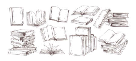 Books hand drawn illustrations set. Open diary, library textbook with empty pages isolated on white background. Closed notebooks stack, planners pile with blank hardback cover. Literature reading