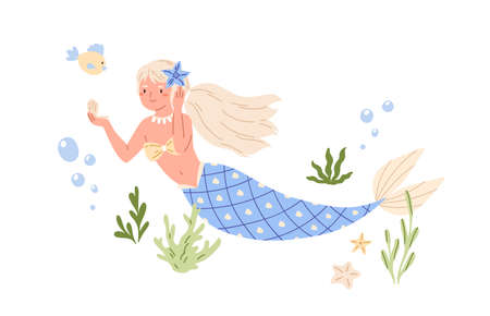 Pretty mermaid with long blonde hair and blue fish tail swimming at sea bed and looking in seashell mirror. Cute underwater fairy princess. Color flat vector illustration isolated on white background
