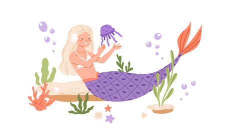 Pretty mermaid with long blonde hair and fish tail playing with jellyfish at sea bed. Cute underwater fairy princess. Colored flat cartoon vector illustration isolated on white background