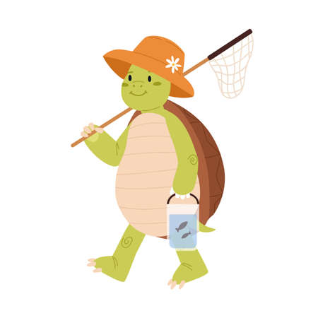 Cute and funny green turtle in summer hat going fishing and carrying landing net. Happy smiling tortoise character walking on back paws isolated on white background. Childish flat vector illustration