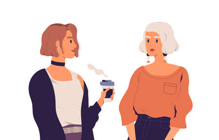 Two young women talking and drinking coffee. Chatting girlfriends isolated on white background. Communication of mother and daughter. Colorful flat vector illustration