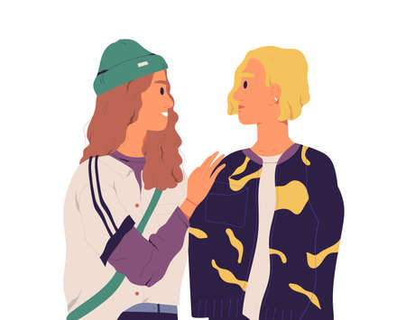 Awkward situation and misunderstanding between two chatting people with different reactions and face expressions. Moment of awkwardness. Colored flat vector illustration isolated on white background