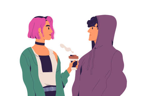 Two young people standing in silence and looking at each other eye to eye. Trendy teenagers couple look at each other. Colorful flat vector illustration isolated on white background Ilustración de vector
