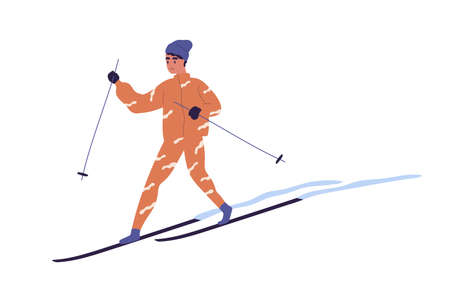 Teenager skiing on snowy track. Skier with poles sliding on snow. Winter activity. Colored flat vector illustration of person doing sports in wintertime