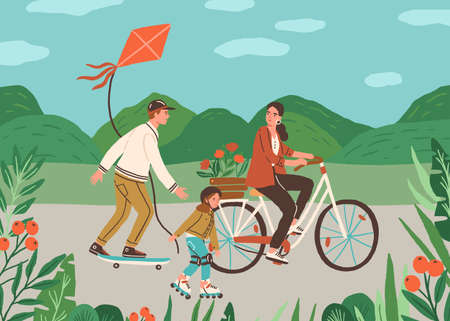 Happy family spend time together outdoors riding bicycle, skateboard and rolling on roller skates. Active leisure in nature. Father, mother and child on summer holidays. Flat vector illustration