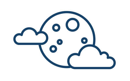 Simple weather icon with full moon with clouds. Symbol of cloudy night in line art style. Linear flat vector illustration isolated on white background