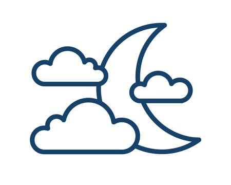 Simple weather icon with half moon or waning crescent with clouds. Symbol of cloudy night in line art style. Linear flat vector illustration isolated on white background Vecteurs