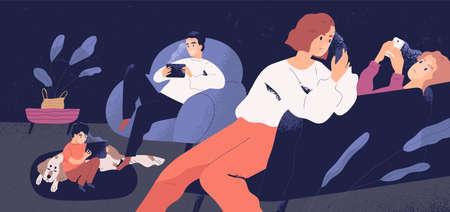 Family gadget addiction problem concept flat vector illustration. People holding smartphones and tablets. Adults and children social media networks users. Parents and kids surfing Internet at home Ilustração Vetorial
