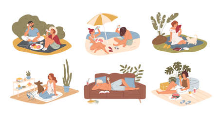 Hot summer outdoor and indoor recreation flat vector illustration set. Couple having picnic in park, sunbathing on sand beach. Man reading book at home. People refreshing from heat characters pack