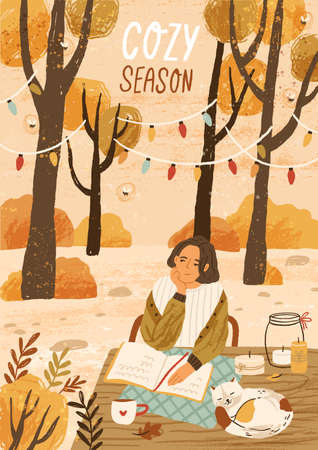 Cozy season hand drawn greeting card vector template. Autumn mood placard, banner layout. Young woman enjoying autumn nature illustration with typography. Outdoor rest in forest, relaxation park Ilustração