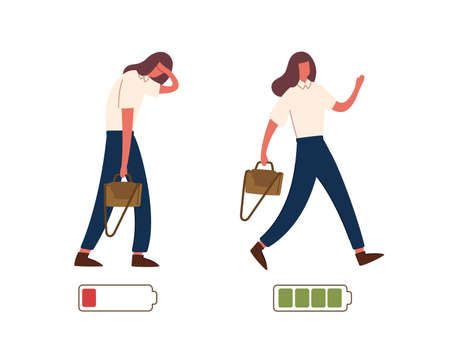 Set of happy and unhappy female office workers and vital power or battery charge indicator. Energetic and tired or exhausted girls and life energy indicaion. Flat cartoon colorful vector illustration