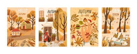 Autumn mood hand drawn poster templates set. Fall season nature flat vector illustrations. People enjoying cozy pastime, reading book, gathering mushrooms, chestnuts. Welcoming autumn postcards pack