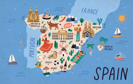 Map of Spain with touristic landmarks or sights and national symbols - cathedrals, flamenco dancer, bull, sangria, paella, man playing guitar. Colorful vector illustration in flat cartoon style