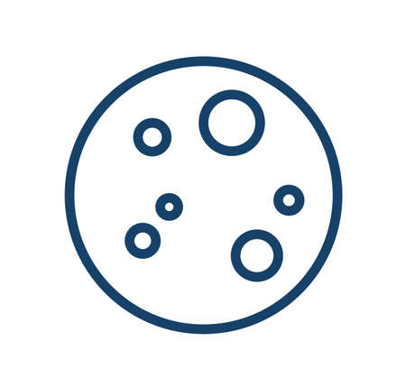 Full moon with craters in line art style. Simple icon of clear weather at night. Monochrome fullmoon circle with porous surface. Contoured linear flat vector illustration isolated on white background