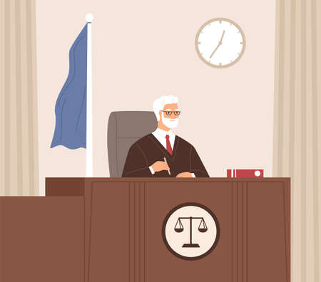 Serious court judge sitting at bench, listening and taking notes in courtroom with flag. Legal authority at work. Senior man in black gown at desk with code. Colored flat vector illustration