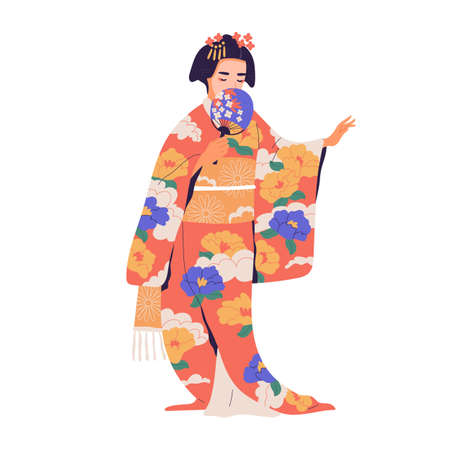 Geisha standing with fan in colorful kimono. Japanese woman with traditional hairdo dressed in national costume. Japan female character. Colored flat vector illustration isolated on white background