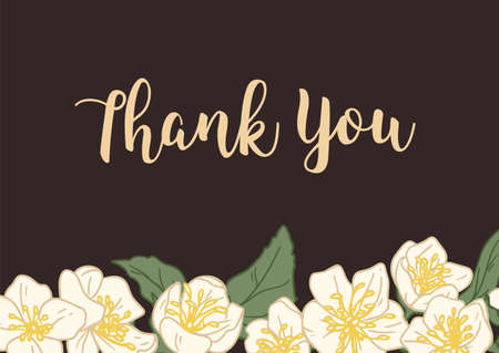 Horizontal template of wedding gratitude card with elegant floral decoration and Thank You inscription. Border of white jasmine flowers on dark background. Hand drawn colored vector illustration