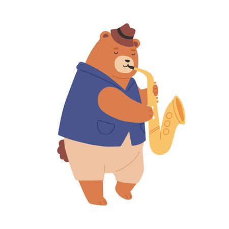 Brown teddy bear in hat playing sax. Cute romantic animal musician performing jazz music. Funny childish character with saxophone. Colored flat vector illustration isolated on white background