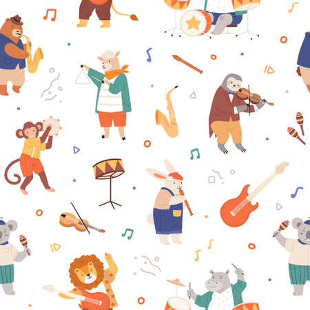 Seamless pattern with animal musicians. Cute kids characters playing music on guitar, violin, fife, drums and sax. Endless repeatable background. Colored flat vector illustration on white