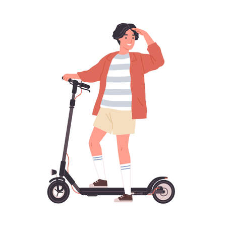 Modern boy riding electric walk scooter. Happy active teenager driving eco urban transport. Colored flat vector illustration isolated on white background
