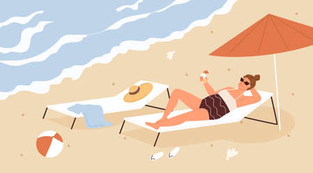 Mature woman relaxing and chilling on sandy beach at seaside resort on summer vacation. Female character lying on chaise lounge under umbrella and drinking cocktail. Colored flat vector illustration