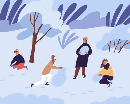 Scene of happy people making snowman from snow in winter. Family with kids playing together in park in cold freezing weather. Colored flat vector illustration of parents with children in wintertime