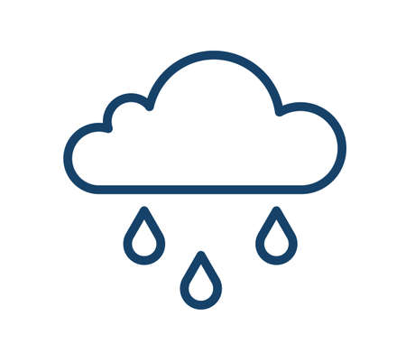 Abstract icon of wet and rainy weather with drops falling from cloud. Simple raincloud logo with three raindrops in line art style. Contoured flat vector illustration of isolated on white background