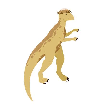 Pachycephalosaurus dino. Extinct dinosaur of ancient jurassic period. Prehistorical animal. Colored flat cartoon vector illustration isolated on white background