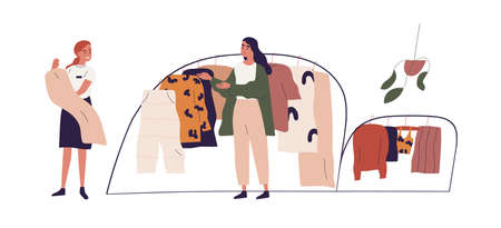 Young woman choosing fashion apparel with help of shop assistant in clothing store. Seller and buyer in showroom. Colored flat vector illustration of saleswoman and customer isolated on white Ilustração