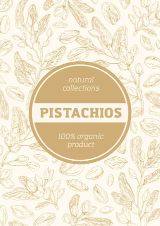 Monochrome background with pistachio pattern for packaging design. Vertical packing template with branches, leaves, shells and kernel of pistaches. Hand-drawn vector illustration